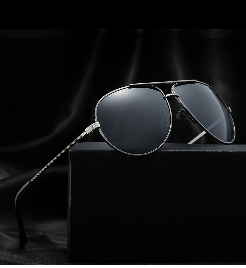 2018 Vintage Retro Aviator Polarized Sunglasses Men Night Driving Glasses