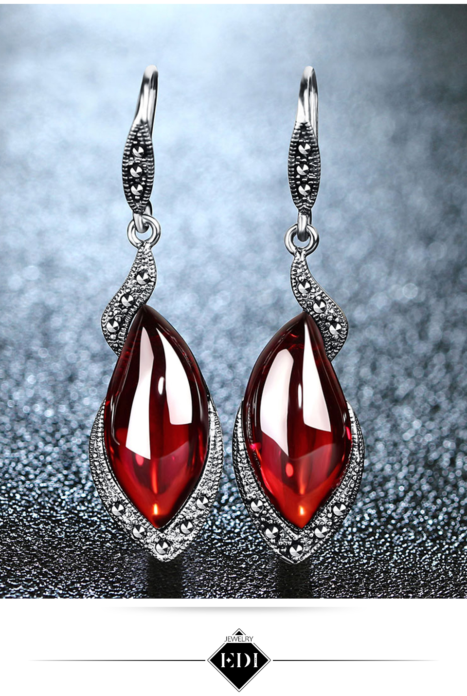 Garnet Pendant Necklace Gemstone Drop Earrings For Women 100% 925 Sterling Silver Jewelry Sets