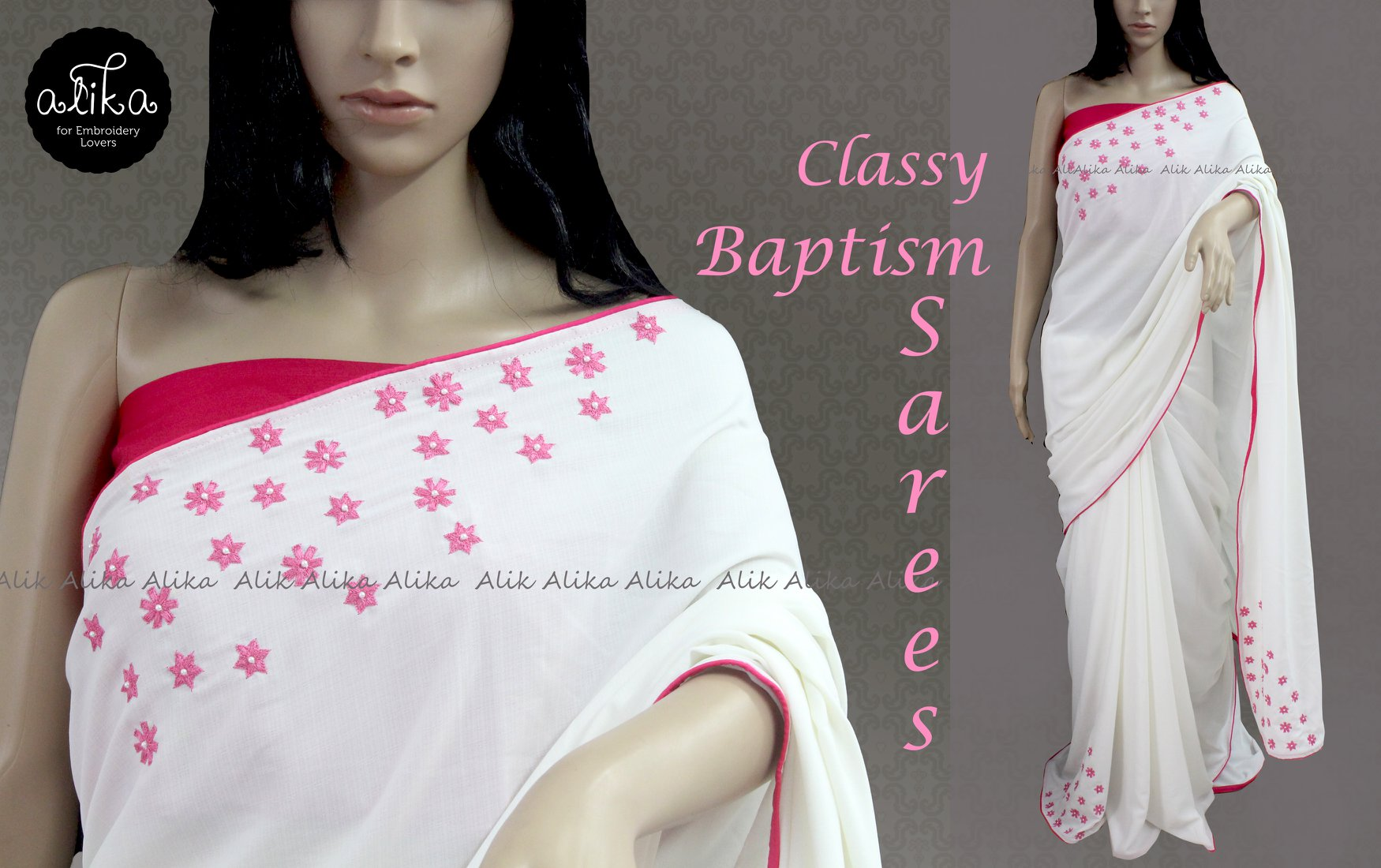 White Baptism Saree with Embroidery