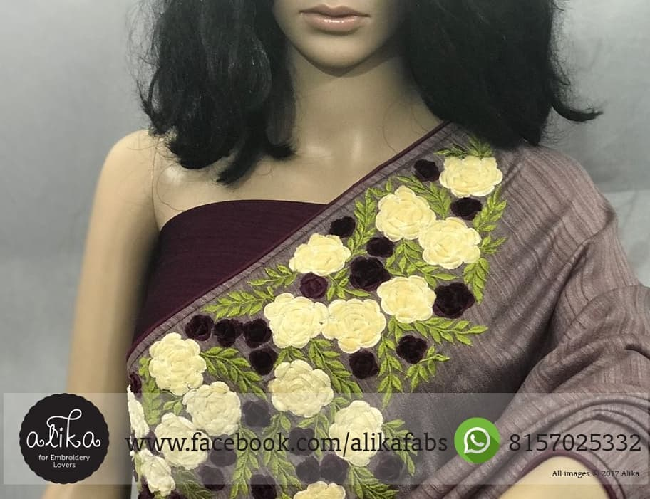 Grape Shade Embroidery Saree