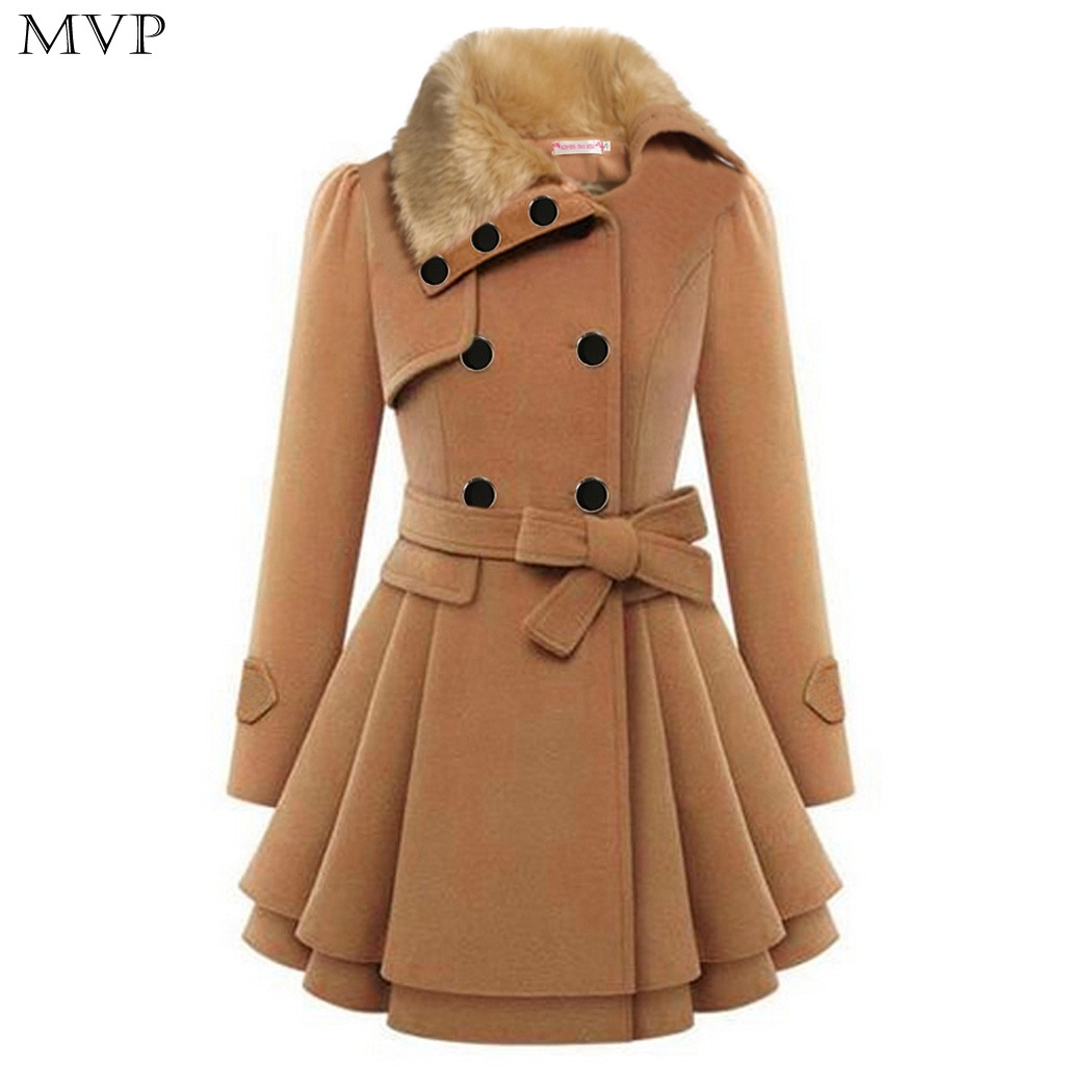 Plus Size New Fall And Winter Clothes Woman Long Design Wool Coat Female Fashion Slim Thin Long Blends Trench Overcoat WKM494