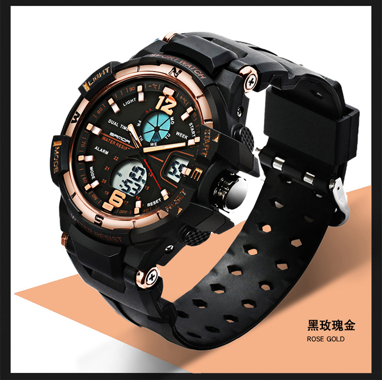 SANDA watch waterproof sports watches men's LED digital watch top brand luxury clock camping diving relogio masculino